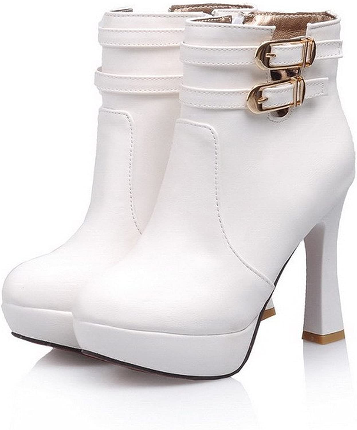 AmoonyFashion Womens High Heels PU Soft Material PU Solid Boots with Metalornament and Zipper, White, 7.5 B(M) US