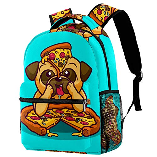 KEAKIA Cartoon Pug Eating Pizza Schoolbag Bookbag Backpack for Teen Girls Boys School Bags Fits 14...