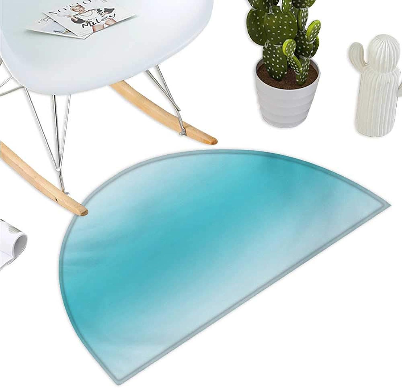 Ombre Semicircular Cushion Abstract Theme Tropical Beach Cove Aquatic Ombre Design Digital Printed Artwork Print Bathroom Mat H 39.3  xD 59  Turquoise