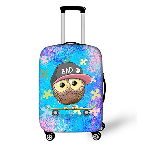 Trolley Case Protective Cover, DOTBUY 3D Print Premium Travel Suitcase Protector Elastic Anti-Scratch Dustproof Luggage Sleeve Cover Elasticized Washable (Skateboard Owl,S (18-20 inches))