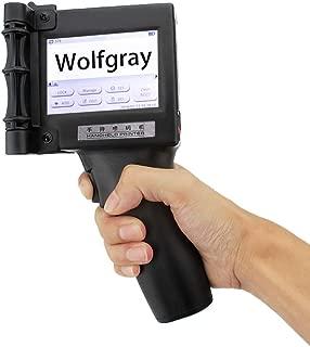 Wolfgray Portable Intelligent High Definition Handheld Inkjet Printer, Inkjet Code Printer,Label Printer,LED Screen Display Inkjet Coding Machine for Trademark,Logo,Graphic,Date Coder,Black