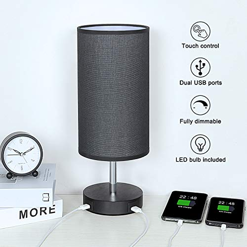 Touch Control Bedside Lamp with 2 USB Charging Ports, Aooshine Fully...