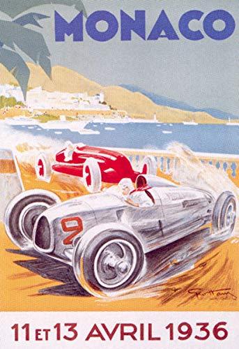 FRENCH VINTAGE METAL SIGN 40x30cm RETRO AD MONACO 1936 AUTOMOBILE GRAND PRIX