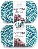 Bernat Blanket Yarn - Big Ball (10.5 oz) - 2 Pack with Patterns (Tidepool)