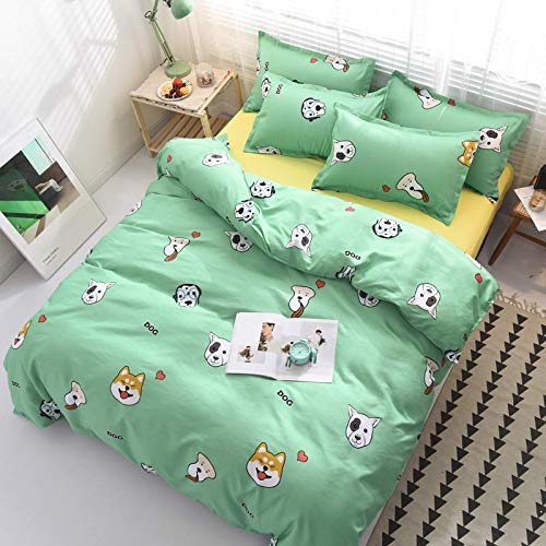 RTRHGDFFGFJHGDDTRHGHUG Hellgrüne Bettwäsche-Sets Bettbezug Kissenbezug Flachbettlaken
