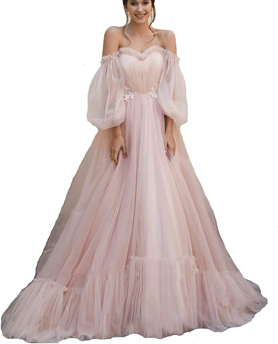 TPonline Tulle Off Shoulder Court Train Prom Dress Long Sweetheart Puff Sleeves Wedding Gown with Lace Up TPPD002