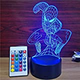 Xmeilo 16 LED Color 3D Illusion Platform Night Lighting Touch Switch Table Desk Decor LED Lamp with Remote Control (Spiderman)
