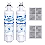 Waterspecialist ADQ36006101 Refrigerator Water Filter and Air Filter, Compatible with LG LT700P, Kenmore 9690, 46-9690, ADQ36006102 and LT120F, Pack of 2, Package may vary