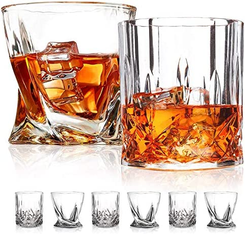 Old Fashioned Whiskey Glasses 6 Pack 10 OZ Scotch GlassesTumblers for Drinking Bourbon Cocktail product image