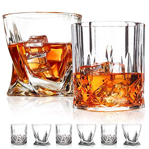 Old Fashioned Whiskey Glasses,6 Pack ,10 OZ Scotch GlassesTumblers for Drinking Bourbon/Cocktail glasses/Bar Whiskey Glasses/ Two styles (Premium)