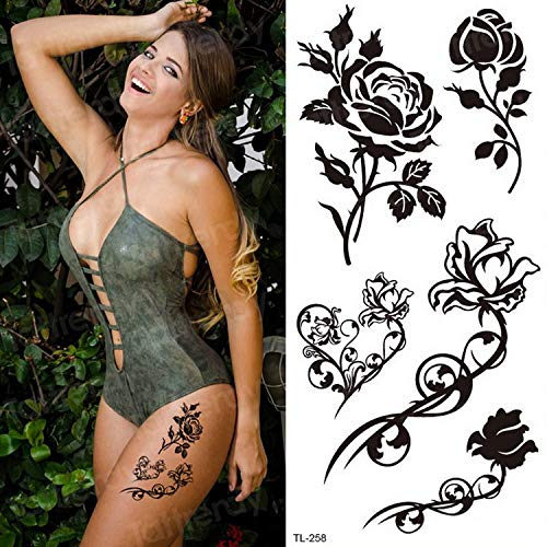 Handaxian 3pcsSticker Bikini Tattoo Mujer Impermeable Tatuaje Temporal Pegatina Azul púrpura Flor Rosa Pegatina Mano Cuerpo Arte Verano