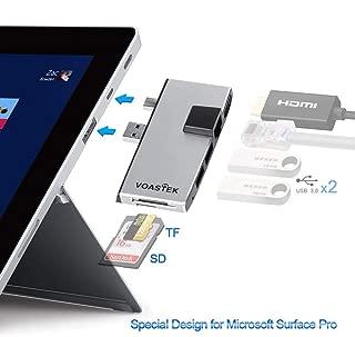 Microsoft Surface Pro Hub, VOASTEK Surface Pro Dock with Dual USB 3.0 Hub Expansion, Mini DP to 4K HDMI, RJ45 LAN Port and SD/Micro SD Card Slots Reader Compatible Microsoft Surface Pro 6/Pro 5