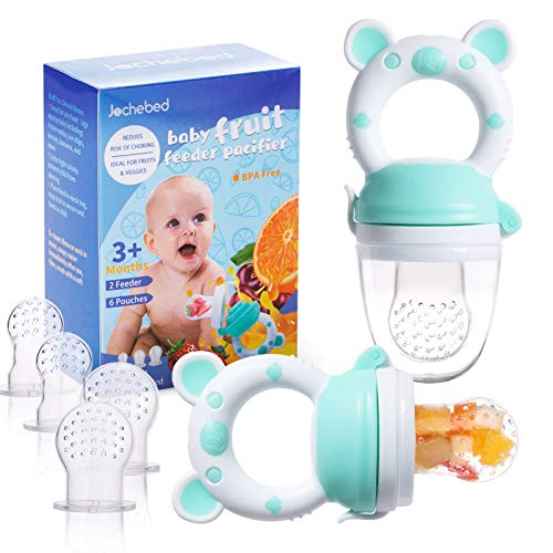 Baby Fruit Food Feeder Pacifier - Fresh Food Feeder, Infant Fruit Teething Teether Toy for 3-24 Months, 6 Pcs Silicone Pouches for Toddlers & Kids & Babies, 2-Pack (Cyan)