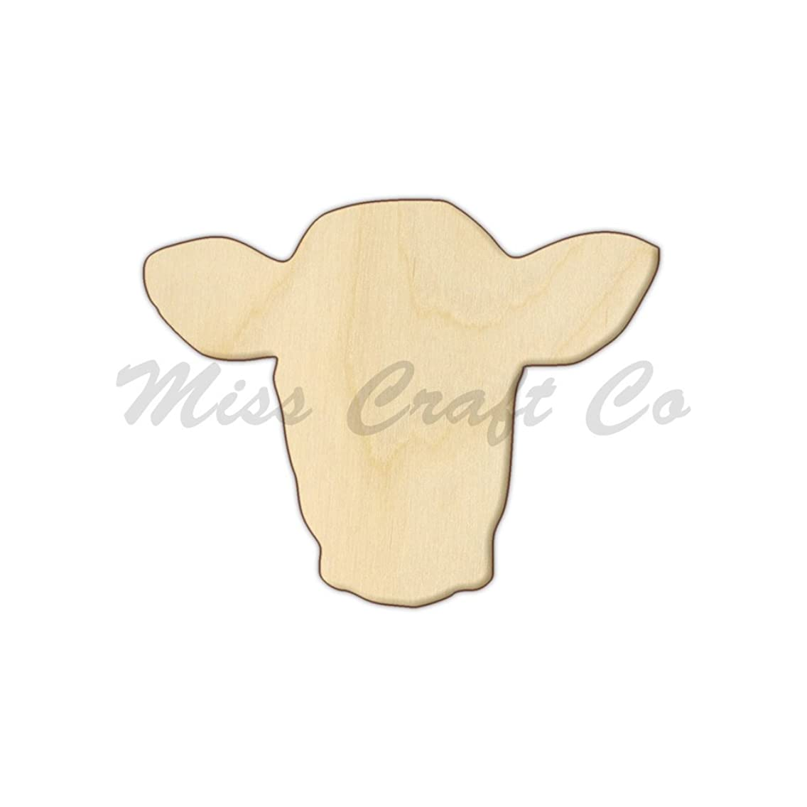 Cow Head Wood Shape Cutout, Wood Craft Shape, Unfinished Wood, DIY Project. All Sizes Available, Small to Big. Made in the USA. 7 X 5.5 INCHES