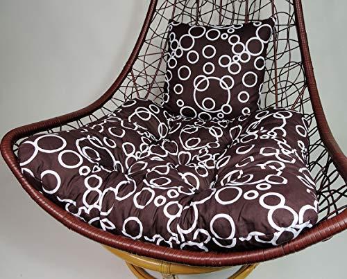Rattani - Polster, Kissen, Auflage für Rattan Hängeschaukel Schaukelstuhl Rattanschaukel Gr. Sitzfläche 75x65 cm + Rückenkissen 40x40 cm- Made in EU