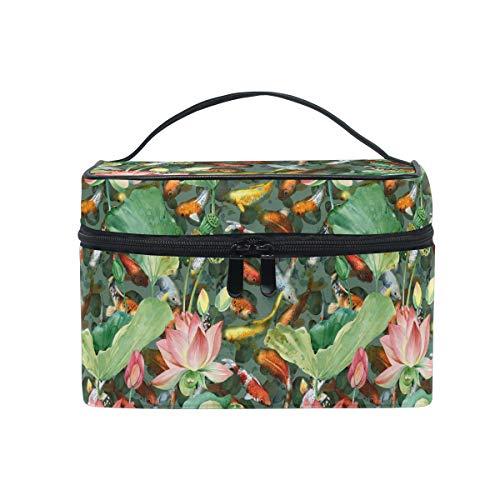 HaJie - Bolsa de maquillaje de gran capacidad para viajes, diseño de flor de loto japonés, portátil, bolsa de almacenamiento, bolsa de lavado para mujeres y niñas