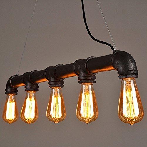 Lightess Hängelampe im rustikalen Vintage- und Steampunk-Stil, aus Metall, 5 kleine Glühbirnen mit Edison-Gewinde Antik schwarz
