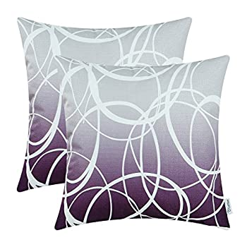 CaliTime Pack of 2 Soft Canvas Throw Pillow Covers Cases for Couch Sofa Home Decor Modern Gradient Ombre Circles Rings Both Sides 20 X 20 Inches Gray to Deep Purple