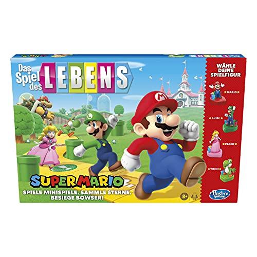 Das Spiel des Lebens Super Mario Brettspiel für Kinder ab 8 Jahren, Minispiele spielen, Sterne sammeln und gegen Bowser kämpfen