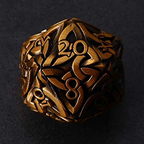 Endless Order Dice (Antique Gold) D20 Dice with Celtic Knots Solid Metal Extra Large Extra Heavy for DnD Dungeons and Dragon Call of Cthulhu Pathfinder Tabletop RPG Polyhedral Dice Artificer Monk Dice