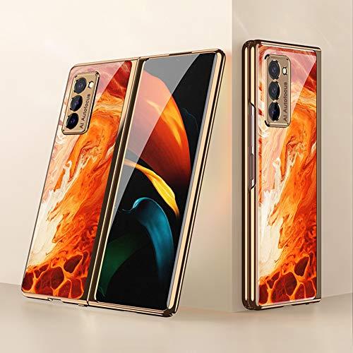 BaiFu Coque pour Samsung Galaxy Z Fold2 5G Etui, Mince PC + 9H Verre Trempé Housse Étui de Protection Mince et Anti, Choc Cover pour Samsung Galaxy Z Fold2 5G, Agate Rouge