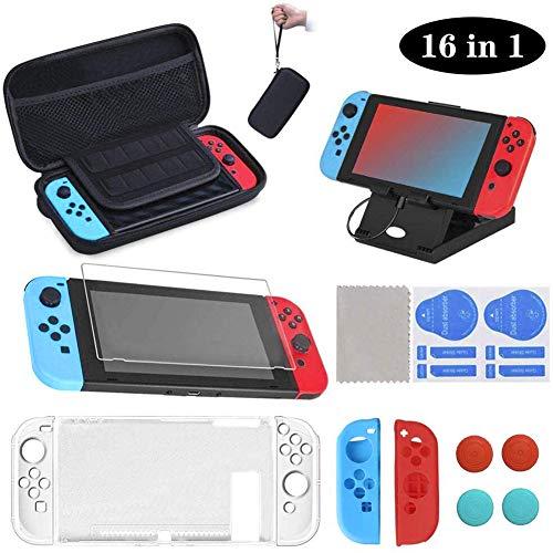 16 en 1 Kit de Accesorios para Nintendo Switch, Funda para Nintendo Switch, Funda Protectora de Silicona, Funda de Transparente, Protector de Pantalla, Tapas para Joystick, Soporte...