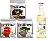 Tassimo® meets Monin® | Set 21 | Cappuccino | Sirup | Jacobs | Gevalia | L'OR | 3 verschiedene Tassimo Sorten & 1 Flasche Monin Weiße Schokolade Sirup 250ml