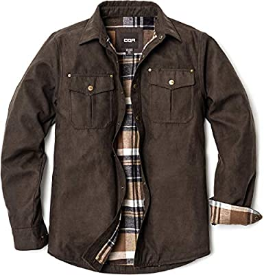 CQR Men's Flannel Lined Shirt Jackets, Long Sleeved Rugged Plaid Cotton Brushed Suede Shirt Jacket, Flannel Lined(hok700) - Calf Brown, X-Large