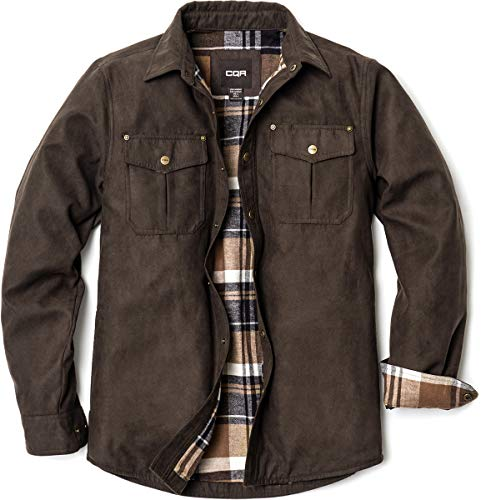 CQR Mens Flannel Lined Shirt Jackets Long Sleeved Rugged Plaid Cotton Brushed Suede Shirt Jacket Flannel Linedhok700 Calf Brown M