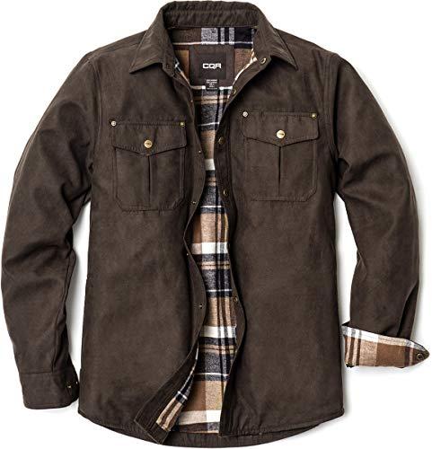 CQR Herren Flanell Gefüttert Hemd Jacken, Langärmlig Rugged Plaid Cotton Brushed Suede Hemd-Jacken, Hok700 1pack - Calf Brown, S
