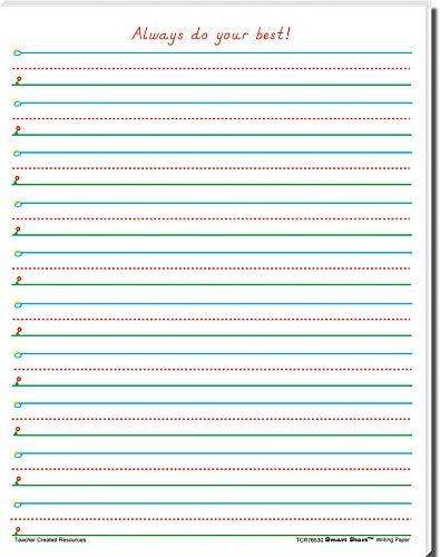 Teacher Created Resources Smart Start 1-2 Writing Paper: 40 Sheet Tablet (76530)