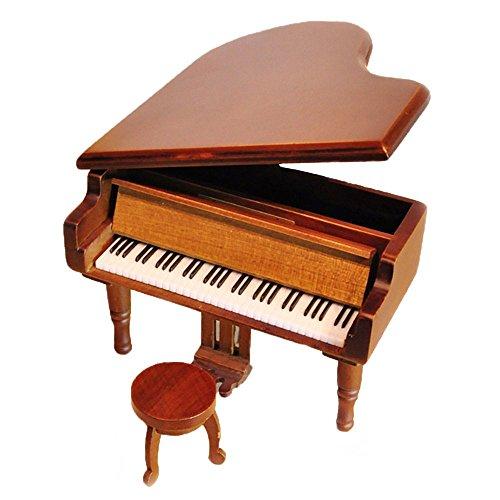 Retro Aufzieh Klavier aus Holz Spieluhr, Holz Simulation Geschenk Musik Box, Yesterday Once More Spieluhr Wood-Silvery