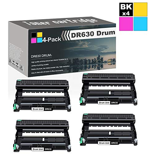 4 Pack Black DR630 Drum Unit Compatible Drum Cartridge Replacement for Brother HL-L2300D HL-L2305W HL-L2315DW HL-L2320D HL-L2340DW HL-L2360DW HL-L2380DW MFC-L2680W MFC-L2685DW Printers Toner. -  GaToner, DR630 - 4PK