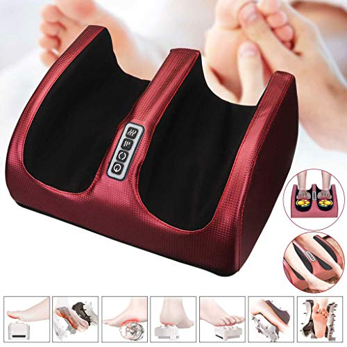 DONGBALA Electric Foot Massager, Shiatsu Massage Machine 6-in-1 Plantar Calf Arm Relaxing 3 Levels Adjust for Deep Kneading Therapy Best Gift for A Friend's Parents(Red)