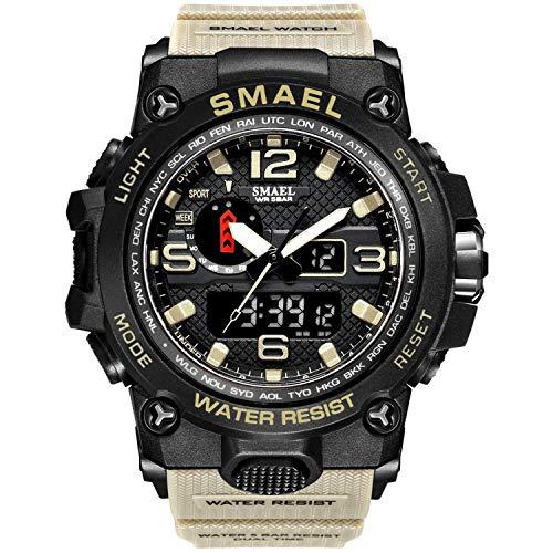 Smael Reloj Militar para Hombre Reloj De Pulsera Impermeable De 50 M Reloj De Cuarzo LED Reloj Deportivo Reloj Deportivo para Hombre (Kahki)
