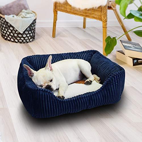 Dog Bed Pet Bed Rectangle Plush Comfy Dog Cat Bed Warming Pet Sofa Dog Basket, Machine Washable Comfort Bed for Small Medium Large Dog (M,Blue)