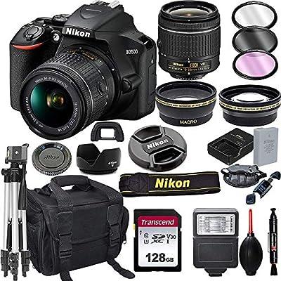 Nikon D3500 DSLR Camera with 18-55mm VR Lens + 128GB Card, Tripod, Flash, ALS VARIETY 20pc Bundle