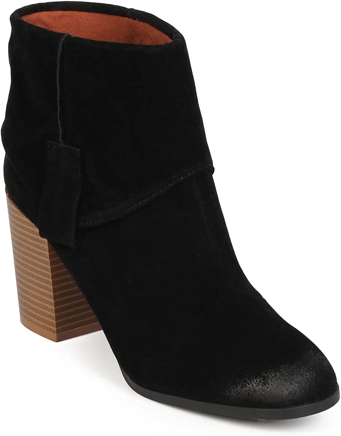 Qupid Women Suede Almond Toe Western Foldover Pull On Bootie EF15 - Black