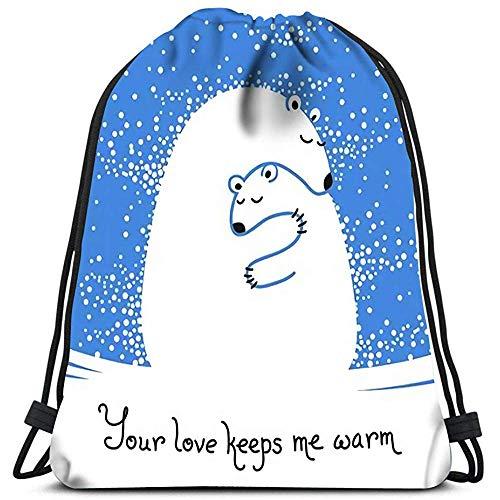 Dingjiakemao gepersonaliseerde tekening tassen moeder beer knuffelen haar baby uw liefde houdt me warm waszak Gym Yoga tas