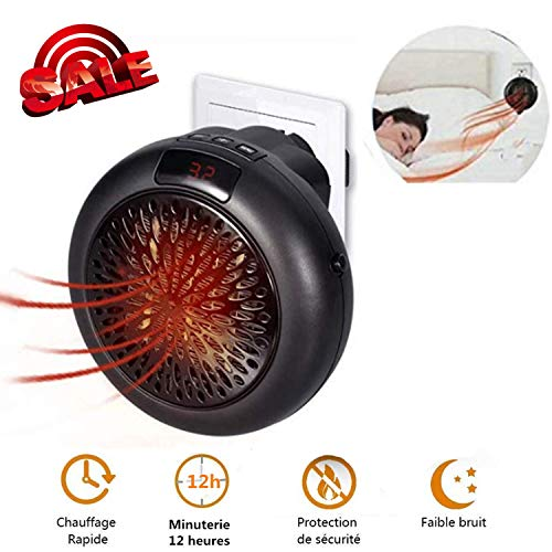 Wonder Heater, Mini portátil Calentador, Estufa Eléctrica Portatil 1000 W con Termostato Ajustable Tiempo Programable de 12 Horas (Negro)