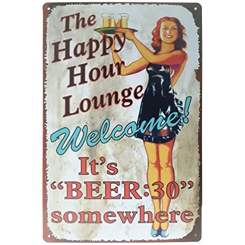 Welcome to Paradise Where its Always Happy Hour Distressed Metal Sign