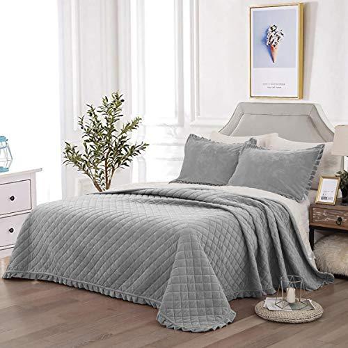 WONGS BEDDING Tagesdecke Bettüberwurf 220x240 cm Steppdecke Doppelbett gesteppt Kristallsamt 3 teilig Bettdecke Stepp Decke Tagesdecken mit 2 Kissenbezug 50 x 70cm für Schlafzimmer (Grau)