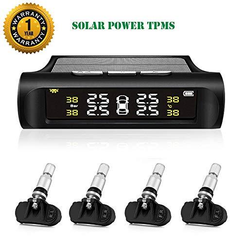 TPMS Tire Pressure Monitoring System Solar Power Universal Wireless Car Alarm System LCD Display with 4 Internal Sensors (Solar Power_Internal TPMS)