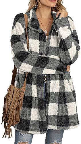 cappotto donna a quadri Cappotto Donna Invernale Giacca in Peluche Pelliccia Sintetica Morbido Caldo a Maniche Lunghe con Bottoni Stampa a Quadri Casual Moda (Plaid A - Nero