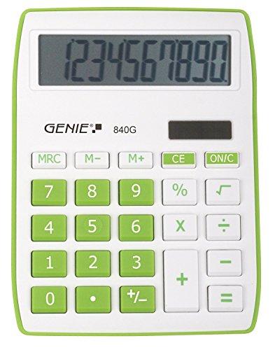 Genie 840 DR 10-cijferige rekenmachine, Dual Power (zonne-energie en batterij) Genie 840 G, groen groen