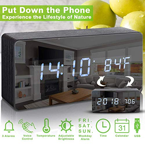 Alarm Clock,Digital Clock Wood Alarm Clocks for Bedrooms Voice Command LED Small Desk Clock with Acrylic Screen Wooden Clocks Beside Black Nightstand Alarm Clock Show Time Date Week Temperature