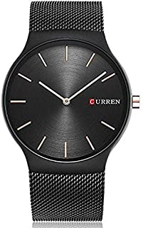 Curren 8256 Men's Sports Waterproof Stainless-Steel Strap Analog Display Wrist Watch - Black