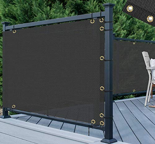 TANG 3' x 50' Black Residential Commercial Privacy Deck Fence Screen 200 GSM Weather Resistant Outdoor Protection Fencing Net for Balcony Verandah Porch Patio Pool Backyard Rails