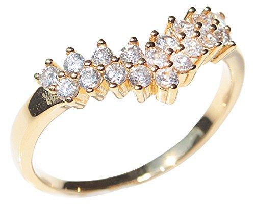 Ah! Jewellery Ladies Classy 18kt Genuine Gold Filled Lab Created Diamond Wishbone Ring. UK Guarantee: 3µ / 10 years.