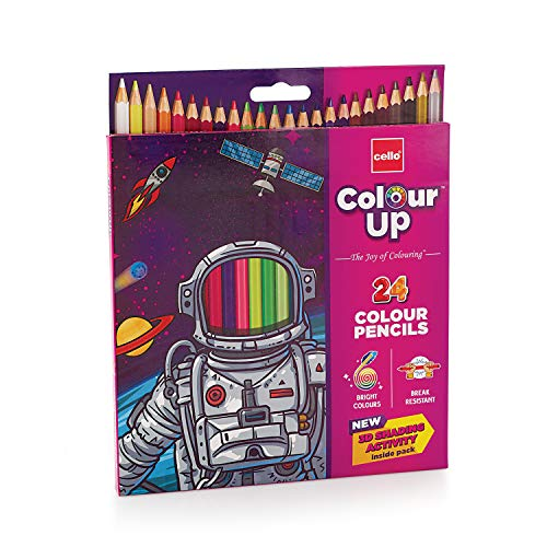 Cello ColourUp Color Pencil Set -Break resistant body for writing, drawing and colouring, Works smoothly even on rough paper - Pack of 24